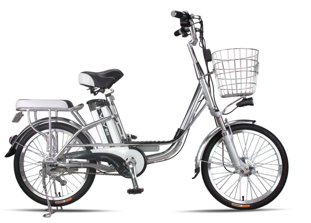 20 Inches Battery Powered Bicycles Sliver Commuter Electric Bike 48V8Ah